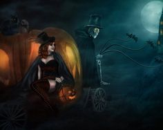 Here's a collection of not-so-scary but really creative Halloween art ideas featuring pumpkins. Browse through these Halloween artworks and be amazed. Halloween 2014, Halloween Photos, Halloween Night, Spooky Halloween, Happy Halloween, Vintage Halloween, Halloween Ideas, Witch Wallpaper, Halloween Wallpaper