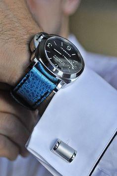 Panerai with custom blue leather strap Fine Watches, Sport Watches, Cool Watches, Panerai Watches, Breitling, Panerai Luminor, Audemars Piguet, Panerai Straps, Christian Grey