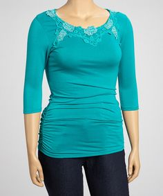 Teal Blue Floral Lace-Trim Three-Quarter Sleeve Top - Plus by Simply Irresistible #zulily #zulilyfinds