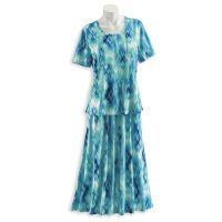 Ikat Watercolor Top & Skirt Set