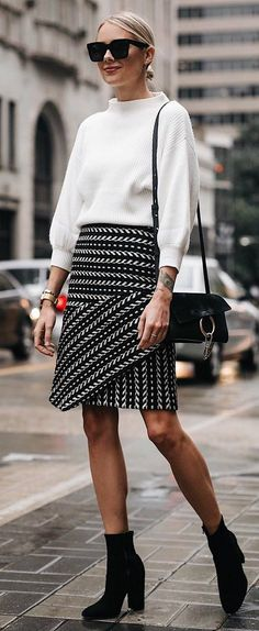 what to wear with a white sweater : skirt + bag + boots #omgoutfitideas #outfits #womensfashion