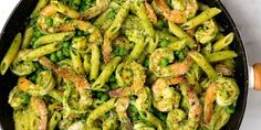 Spinach Pesto Penne with Shrimp and Peas - Pesto nuts will love this fresh spring combo of spinach, basil, and sweet peas.