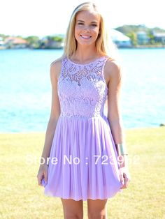 2013 Hot ! Summer Beach Wedding Bateau Sleeveless Purple Lavender Lace Short Bridesmaid Dress $109.00