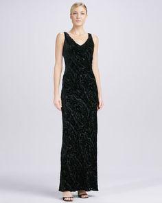 Cowl-Neck Velvet Gown by Carmen Marc Valvo at Bergdorf Goodman.