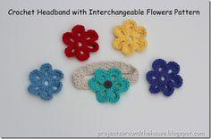 crochet headband with interchangeable flowers pattern
