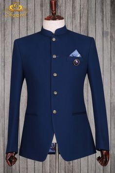 """Look like a Prince in Our Navy Blue Bespoke Prince Suit"" Exclusively available for orders at Shameel Khan Inbox us or 📞 for pricing and Free Designer's Appointment. Blazer Outfits Men, Mens Fashion Blazer, Stylish Mens Outfits, Suit Fashion, White Wedding Suits For Men, Wedding Dresses Men Indian, African Wear Styles For Men, African Attire For Men, Nigerian Men Fashion"