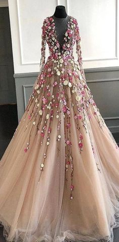 Buy Elegant Floral Scoop Lace Long Sleeve Pink Prom Dresses with Tulle, Long Evening Dresses on sale.Shop prom or formal dresses from Promdress. Find all of the latest styles and brands in Junior's prom and formal dresses at PromDress. Senior Prom Dresses, Floral Prom Dresses, Elegant Prom Dresses, Prom Dresses Long With Sleeves, Beautiful Prom Dresses, Pretty Dresses, Long Dresses, Prom Gowns, Flower Dresses