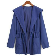 SheIn(sheinside) Blue Hooded Drawstring Waist Pockets Trench Coat (€14) ❤ liked on Polyvore featuring outerwear and coats