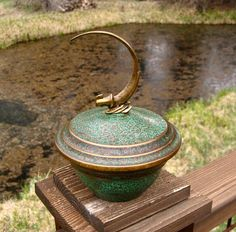 Arts and Crafts Bronze Bowl with Lid by Carl Sorensen Bird of