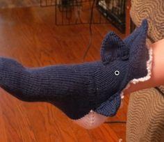 Knitting pattern for Shark Slippers