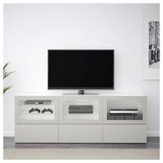 IKEA - BESTÅ TV unit with doors and drawers white Lappviken, light