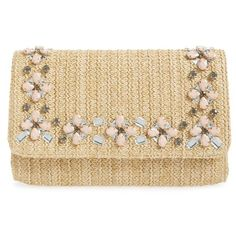 Glint Embellished Straw Clutch (6.690 RUB) ❤ liked on Polyvore featuring bags, handbags, clutches, natural, chain purse, summer straw purses, chain strap purse, embellished purses and chain handle handbags