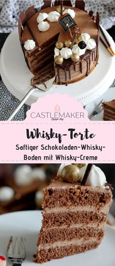 REZEPT für saftige Schokoladen-Whisky-Torte / semi naked cake mit Drip This whiskey cake will win the hearts of all men and women. The chocolate whiskey base is filled with a delicious whiskey c Drip Cakes, Torte Au Chocolat, Whiskey Cream, Whiskey Cake, Naked Cakes, Best Pie, Flaky Pastry, Mince Pies, Fashion Cakes