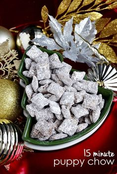 15-Minute Puppy Chow-9 cups Rice or Corn Chex   1 cup semi-sweet chocolate chips   1/2 cup smooth peanut butter   1/4 cup butter or margarine   1 teaspoon vanilla   1-1/2 cups powdered sugar