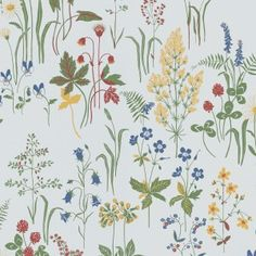 Flora -tapetti by Sandberg Wallpaper Textures Patterns, Print Patterns, Meadow Flowers, Kitchen Wallpaper, Inspirational Wallpapers, White Wallpaper, Designer Wallpaper, William Morris, Watercolor Paintings
