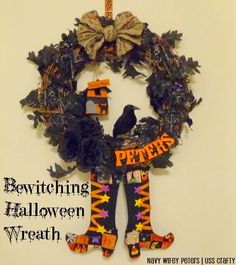 Bewitching Halloween Wreath 2014 ~ Navy Wifey Peters Aboard the USS Crafty