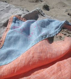 time for some DIY action as these $300 linen beach blankets are genius but ridiculously priced..  beach blanket with corner pockets to fill with sand so it doesn't blow away..