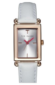 Ted Baker London 'Bliss' Rectangle Case Leather Strap Watch, 34mm available at #Nordstrom