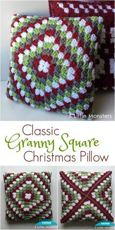 Free crochet pattern for a classic granny square pillow for Christmas. Fold the corners to the center to make the pillow