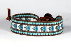 Small Bead Loom Bracelet Leather Wrap Bracelet Turquoise Arrow