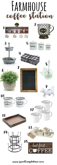 Lots of cute farmhouse style accessories for your coffee station or coffee bar