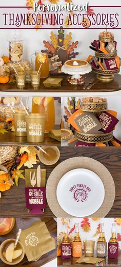 create a cozy autumn feel to your party or get together with personalized thanksgiving accessories