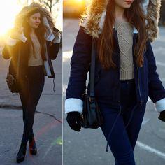 Ariadna Majewska - Black Boots, Fur Hood Navy Blue Jacket, Beige Sweater - Goodbye winter