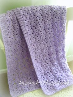 Lacy Crochet: Lacy Baby Blanket, Free Pattern. Pretty blanket! Might want this someday, although I'm rather adverse to giving baby blankets as gifts because they're typically one of those items the soon to be parents receive a lot of.