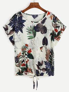 Tropical Print Drawstring Hem T-shirt -SheIn(Sheinside)