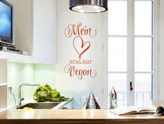 Wall tattoo sayings heart ' ' lettering vegan ' ' kitchen decoration text food kitchenette wall stic Wall Stickers Animals, Normal Wallpaper, Kitchen Quotes, Wall Tattoo, Vegan Kitchen, Nursery Wall Decals, Room Wall Decor, Kitchenette, Diy Painting