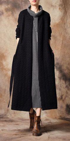 Loose Knitted Casual Wind Coat Women Fashion Outfits - Damen Mode - The Fashion Blazer Fashion, Knit Fashion, Fashion Outfits, Fashion Styles, Fashion Boots, Classy Outfits, Casual Outfits, Dress Casual, Black Women Fashion
