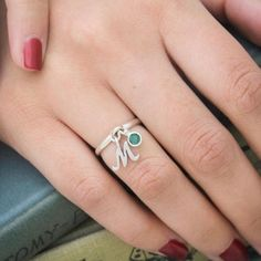 Cute initial and birthstone charm ring now available in my Etsy shop!