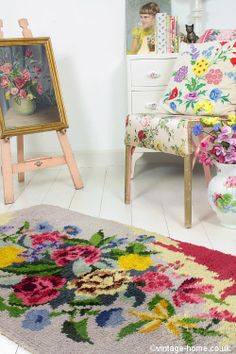 Vintage Home - Beautiful Handmade Floral Rug: www.vintage-home.co.uk