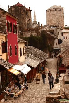 The cobbled streets of Mostar, Bosnia.