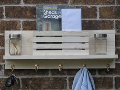 Wall Organizer Rustic and White / Key and Mail Holder