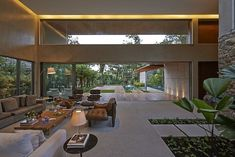 Contempory design. Indoor/outdoor living space. Using green, natural elements brings the outdoors indoors.