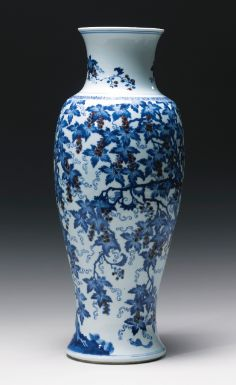 A RARE AND UNUSUAL UNDERGLAZE-BLUE AND COPPER-RED 'SQUIRREL AND GRAPEVINE' VASE<br>QING DYNASTY, KANGXI PERIOD | Lot | Sotheby's