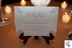 Custom wedding cake sign by Sixpence Press | Photo by Leigh Webber