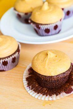 @KatieSheaDesign ♡❤ #Cupcakes ❤♡ ♥ ❥  Fudge Brownie Cupcakes with Pumpkin Cream Cheese Frosting