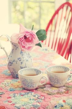 teatime, vintage quilt - one for me and one for you...