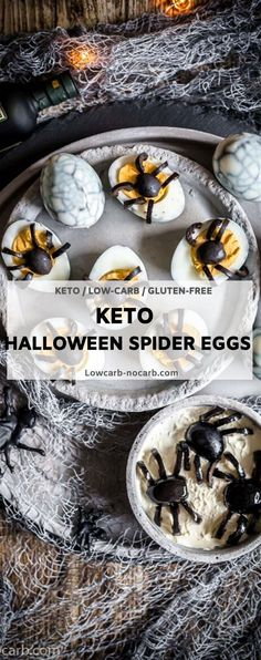 Halloween Keto Spider Web Deviled Eggs are a great scary Halloween Low Carb Recipe for your monster party. #keto #halloween #spider #web #lowcarb #devilded #eggs #recipe Low Carb Recipes, Real Food Recipes, Snack Recipes, Snacks, Appetizer Recipes, Breakfast Recipes, Yummy Food, Halloween Spider, Scary Halloween