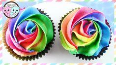 Tutorial: RAINBOW CUPCAKES, RAINBOW ROSE CUPCAKES - BY SUGARCODER
