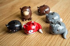 Animaux sauvages Kawaii Chibi  Polymer Clay Figure par HappyHuskyy, $16.00