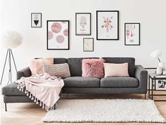 33 Modernes Wohnzimmer-Dekor in Pink und Grau 33 Modern living room decor in pink and gray, # Sconces Living Room, Living Room Grey, Living Room Modern, Home Living Room, Living Room Designs, Cozy Living, Modern Bedrooms, Living Room Ideas Pink And Grey, Living Room Decor Colors Grey