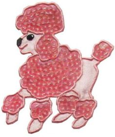 """Amazon.com: [Single Count] Custom and Unique (3"""" to 3 7/8"""" Inches) Left Facing Household Sequin Poodle Dog Breed Iron On Embroidered Applique Patch {Pink & Black Colors}"""