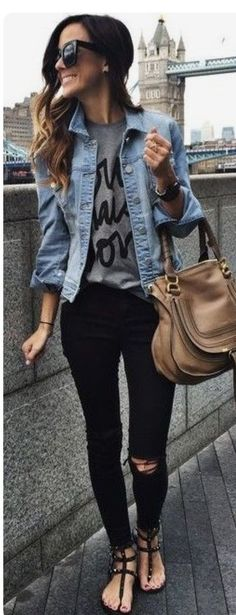 ef245a4f5e97 Chic jean jacket and black jeans. Spring and Summer Outfit trends for 2017.  Perfect