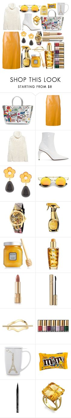 """Sunny Friday ☀️"" by pulseofthematter ❤ liked on Polyvore featuring Anya Hindmarch, Marni, MM6 Maison Margiela, MISBHV, Lizzie Fortunato, Gucci, Moschino, Laura Mercier, Kérastase and Dolce&Gabbana"
