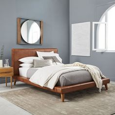 Elevate your bedroom design with west elm's beds. Choose from rustic wood styles, modern upholstered beds, sleek daybeds and cribs to transform your space. Mustard Bedding, Linen Bedding, Bed Linens, Grey Bedding, Upholstered Platform Bed, Upholstered Beds, Platform Beds, Leather Platform Bed, Leather Headboard