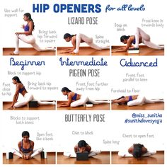 Hip Opening Yoga Poses for all levels Check out my Instagram @miss_sunitha #sunithalovesyoga for more cues and details on each pose and variation #YogaPoses