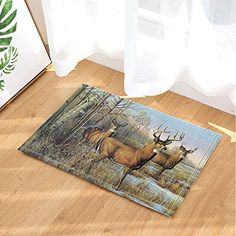 NYMB Antlers Deer Decor, Oil Painting Elk In Winter Forest Bath Rugs, Non